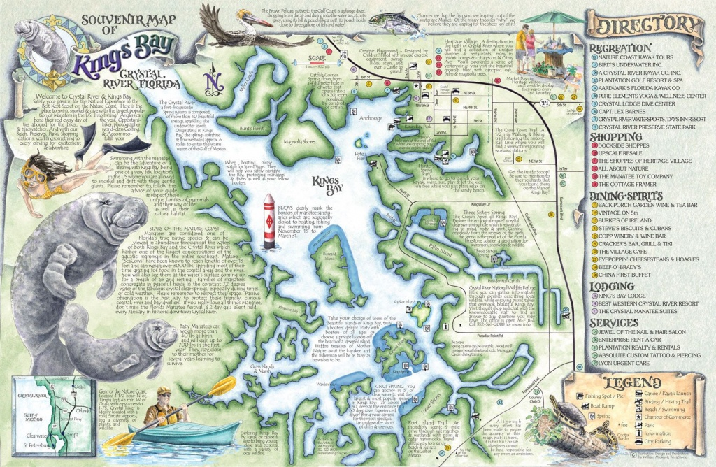 Crystal River's Spring Maps   The Souvenir Map & Guide Of Kings Bay - Florida Springs Map