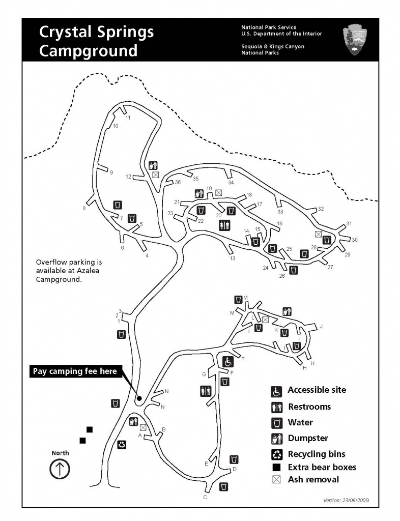 Crystal Springs Campground - Sequoia & Kings Canyon National Parks - California Tent Camping Map
