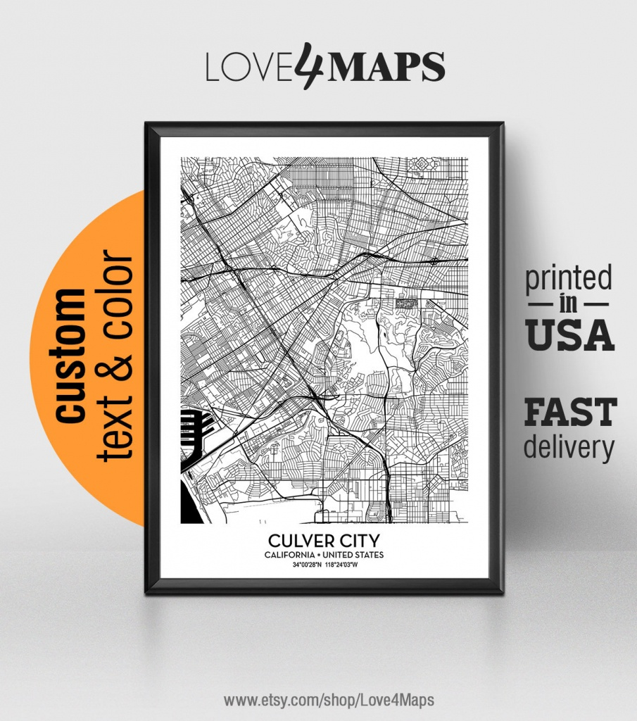 Culver City California Map Culver City City Print Culver | Etsy - Culver City California Map