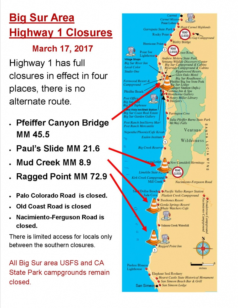 Current Big Sur Highway 1 Closures | Big Sur California - California Highway 1 Closure Map