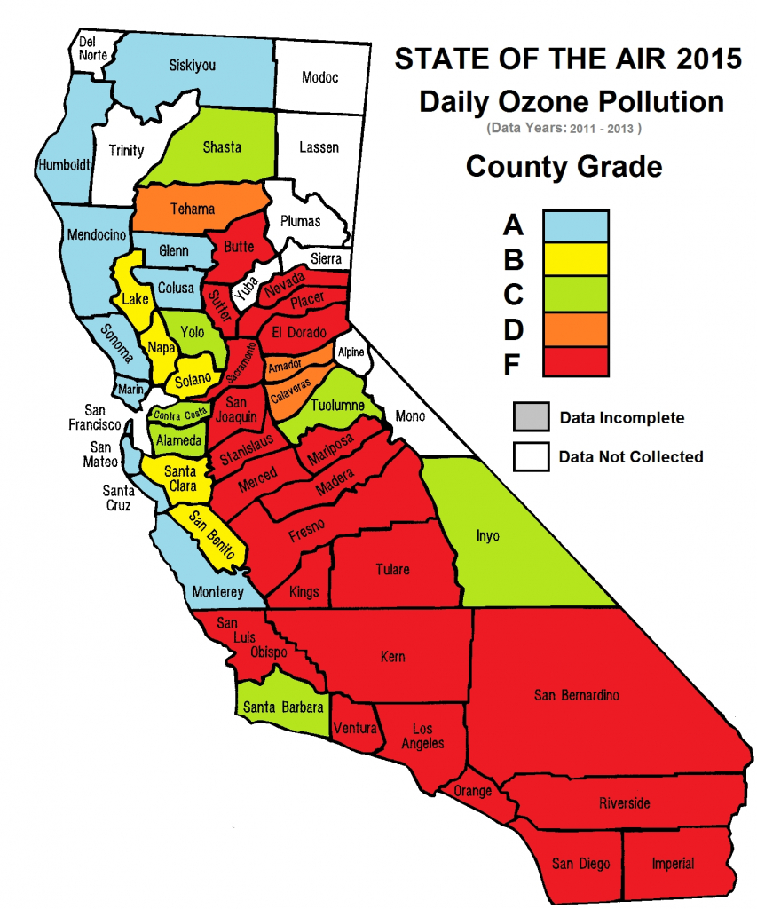 Current California Air Quality Map – Map Of Usa District - Air Quality Map For California
