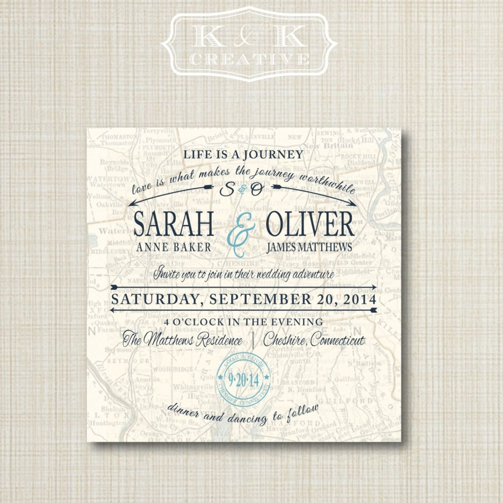 Custom Map Printable Wedding Invitation 5X5Kandkcreative, $20.00 - Maps For Wedding Invitations Free Printable