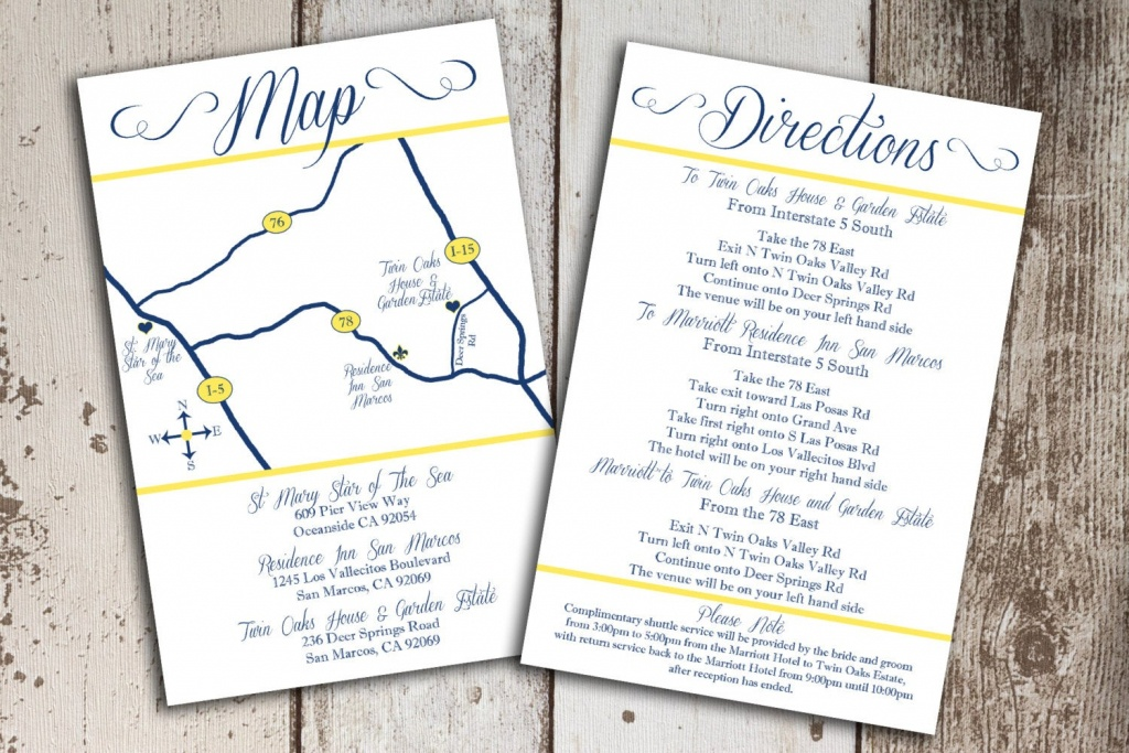 Custom Wedding Map And Direction Invitation Insert Printable File - Printable Map Directions For Invitations