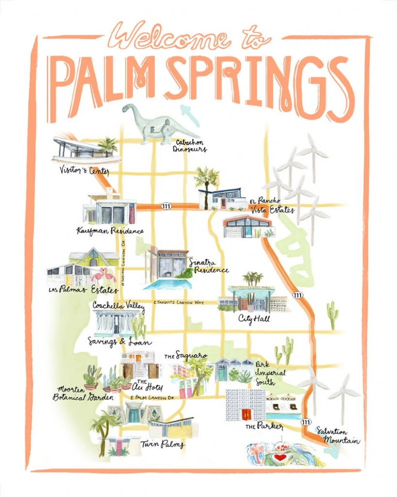 Customizable Palm Springs Map Illustration | Etsy - Palm Springs California Map