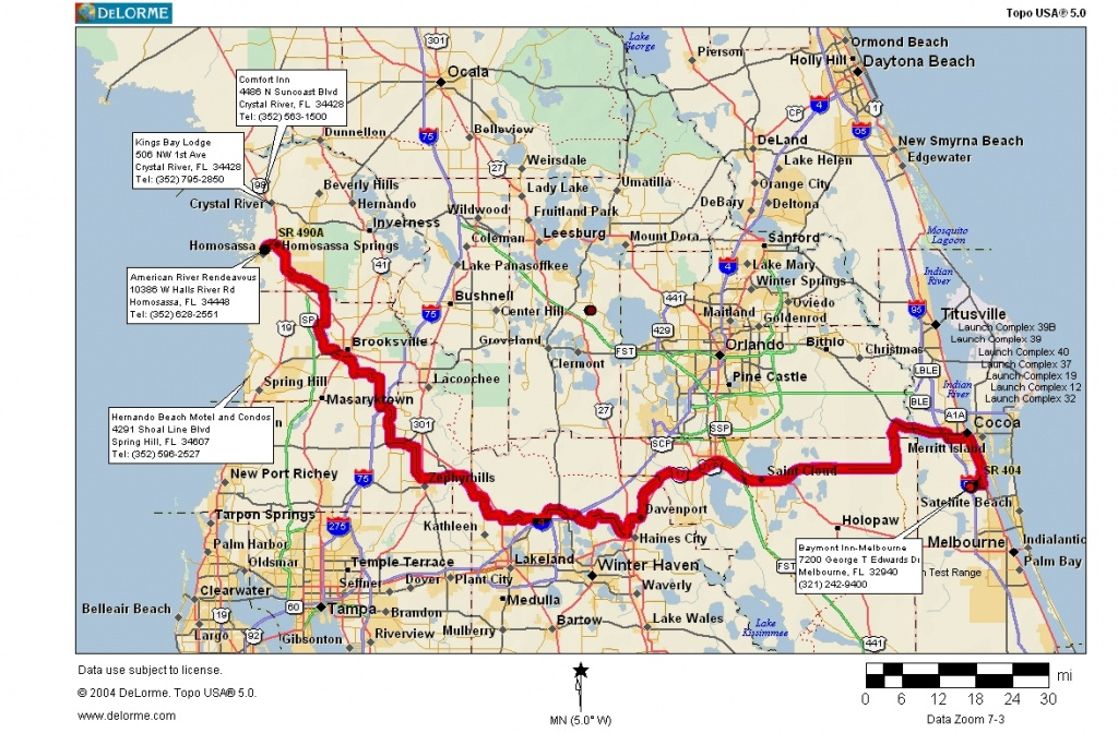 Cycling Routes Crossing Florida - Indian Harbour Beach Florida Map