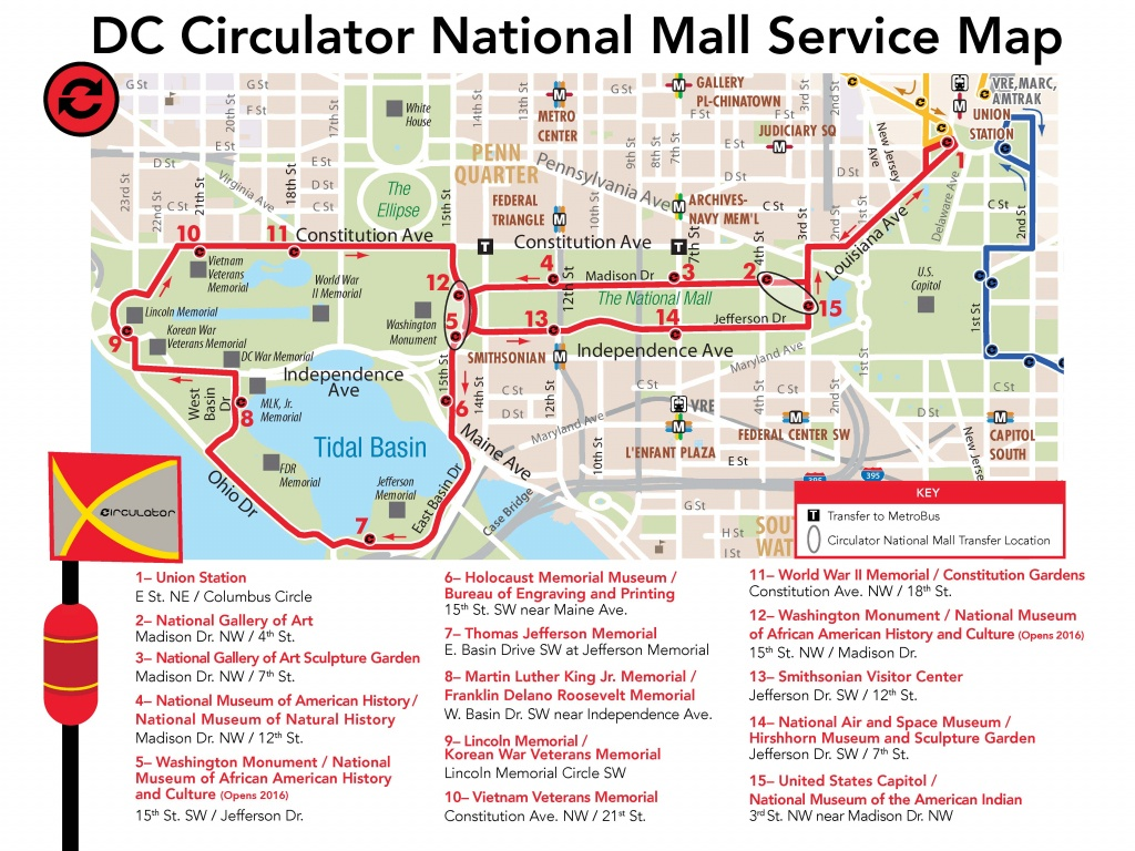 D.c. Circulator National Mall Route - Printable Map Of Dc Monuments