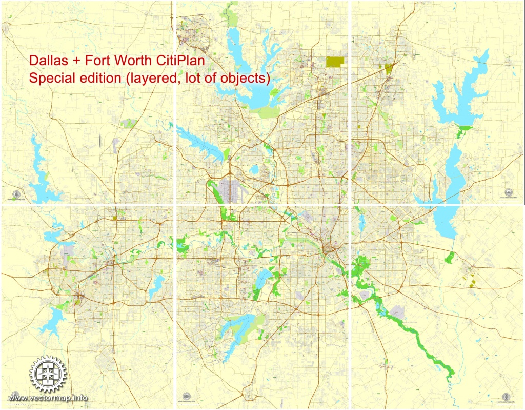Dallas + Fort Worth Tx Pdf Map, Us, Exact Vector Street Cityplan Map - Printable Map Of Fort Worth Texas