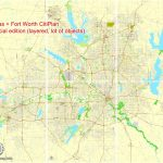 Dallas + Fort Worth Tx Pdf Map, Us, Exact Vector Street Cityplan Map - Street Map Of Fort Worth Texas