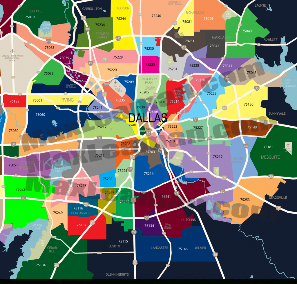 Dallas Zip Code Map | Mortgage Resources - Printable Map Of Dallas