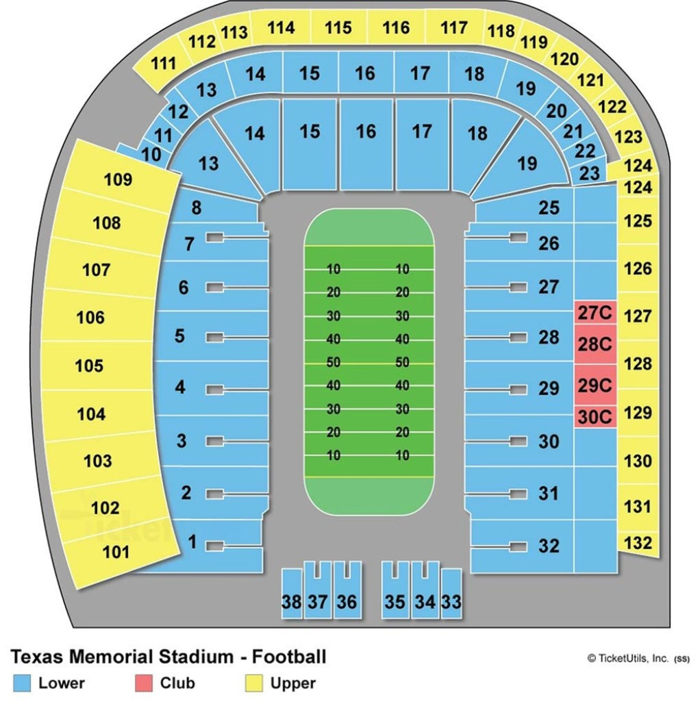 Darrell K Royal-Texas Memorial Stadium - Maplets - Texas Memorial Stadium Map