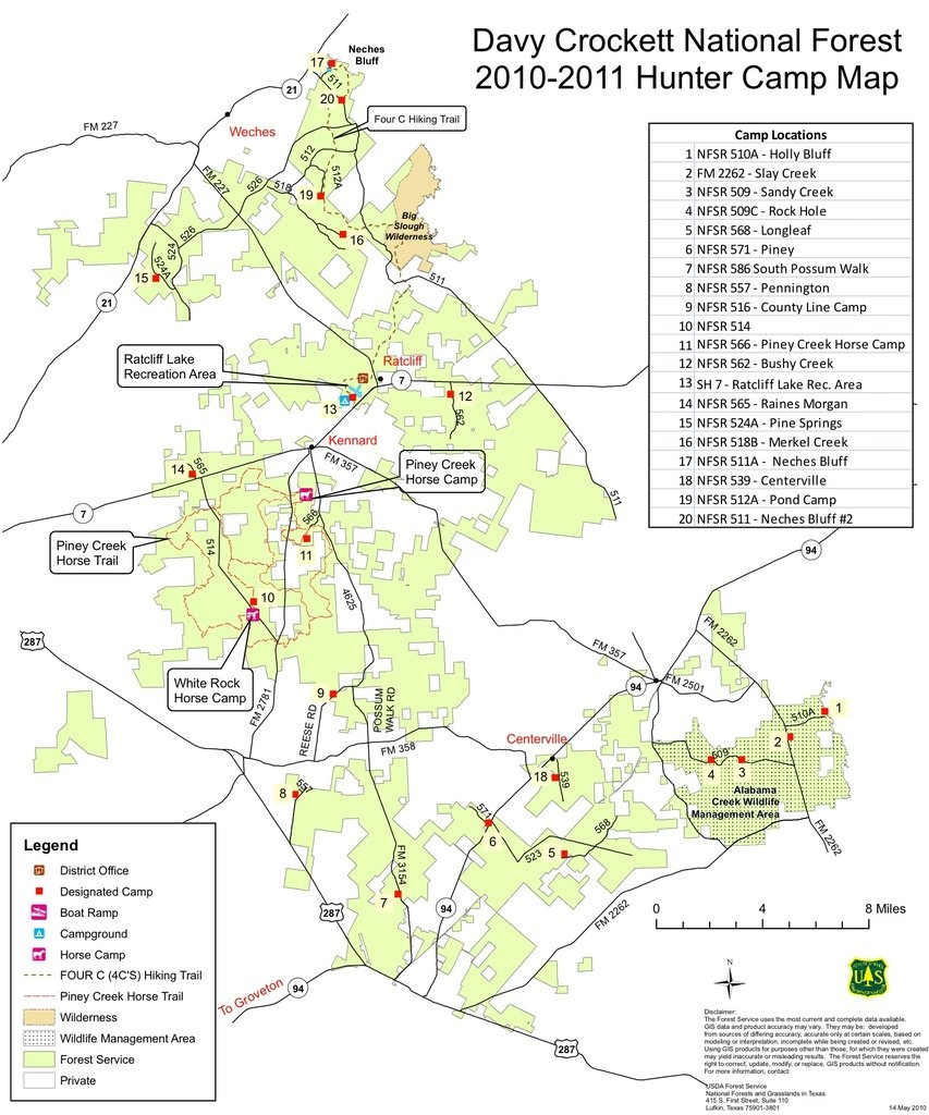 Davy Crockett National Forest - Maplets - Crockett Texas Map