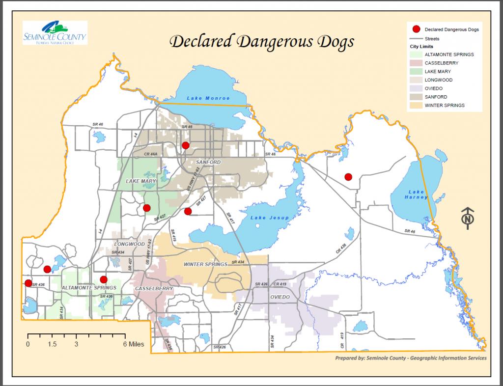 Declared Dangerous Dogs List Residing In Seminole County | Seminole - Map Of Seminole County Florida
