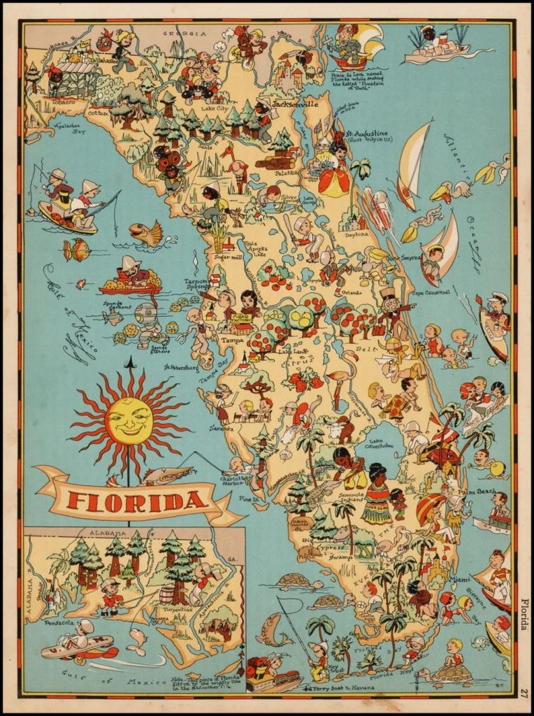 Decorative Whimsical Map Of Florida. | Florida | Florida Pictures - Old Florida Maps Prints