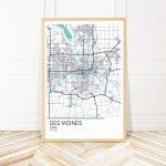 Des Moines Iowa Map Art Print Map Of Des Moines Iowa City | Etsy   Printable Map Of Des Moines Iowa