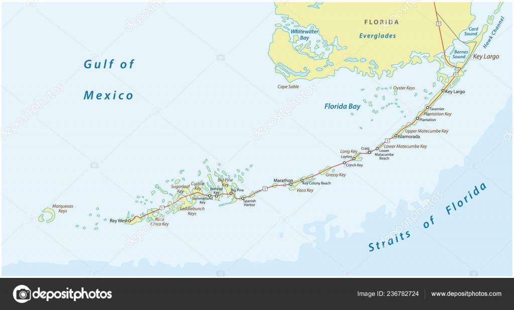 Detaild Florida Keys Road Travel Vector Map — Stock Vector - Road Map Florida Keys