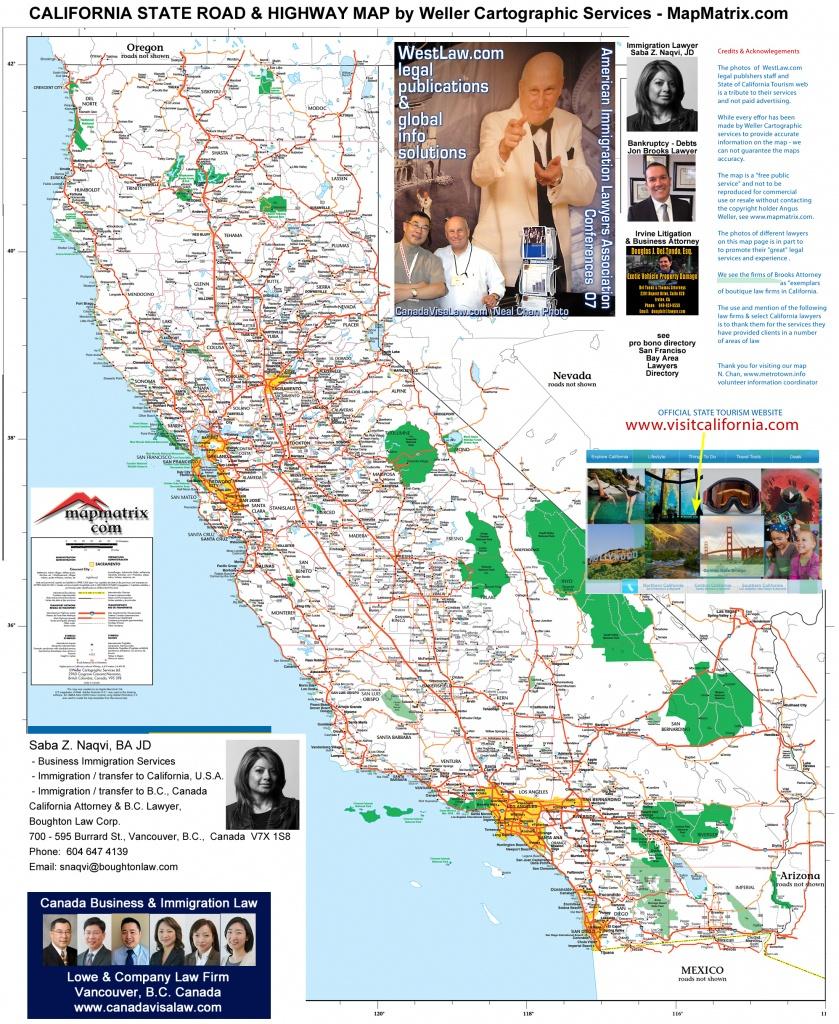 Detailed California Road / Highway Map - [2000 Pix Wide - 3 Meg - California Road Map
