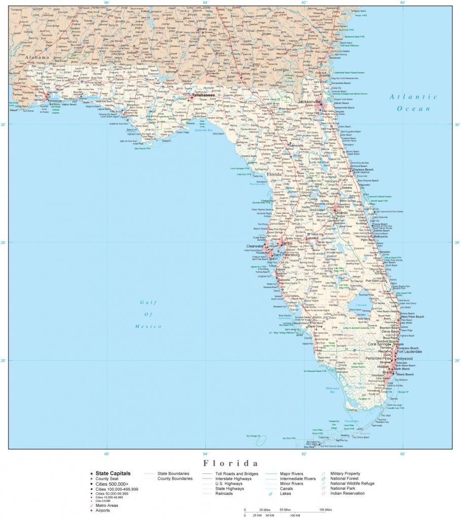 Detailed Florida Digital Map With County Boundaries, Cities - Florida State Parks Map