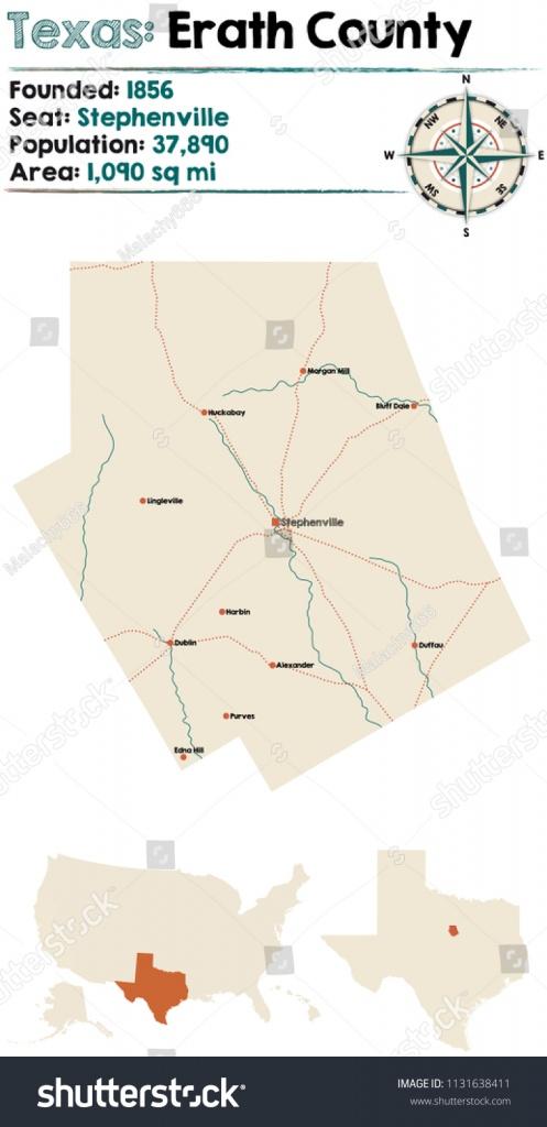 Detailed Map Erath County Texas Usa Stock Vector (Royalty Free - Erath County Texas Map