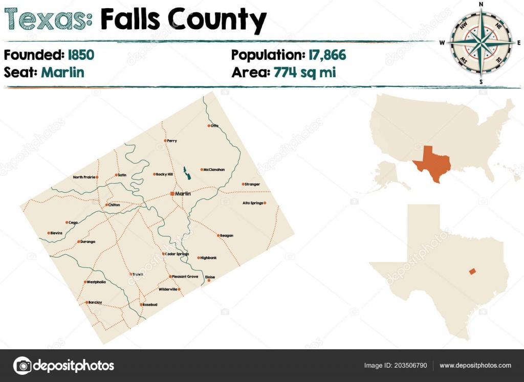 Detailed Map Falls County Texas Usa — Stock Vector © Malachy666 - Falls County Texas Map