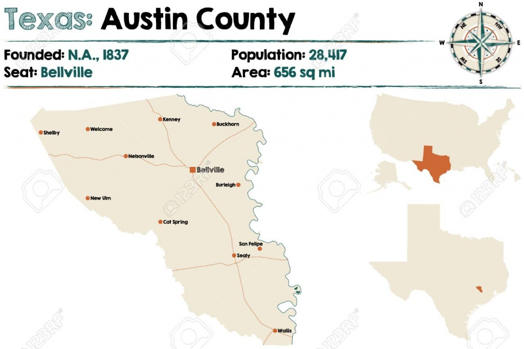 Detailed Map Of Austin County In Texas, United States Royalty Free - Austin County Texas Map