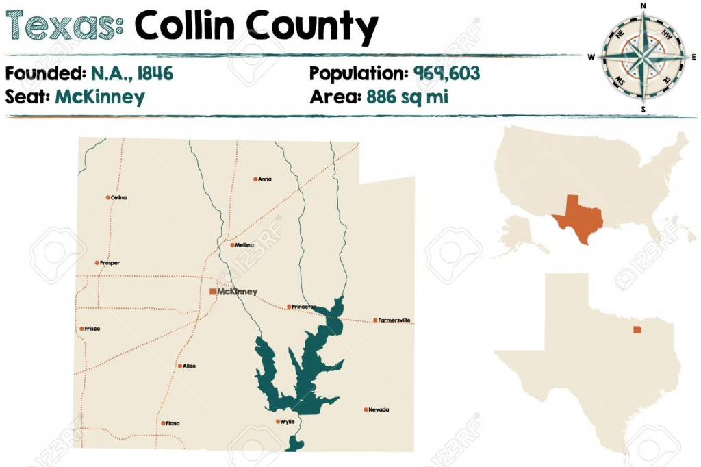 Detailed Map Of Collin County In Texas, Usa. Royalty Free Cliparts - Collin County Texas Map