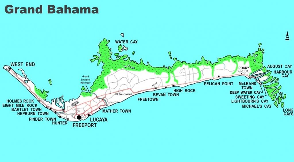 Detailed Map Of Grand Bahama - Map Of Florida And Freeport Bahamas