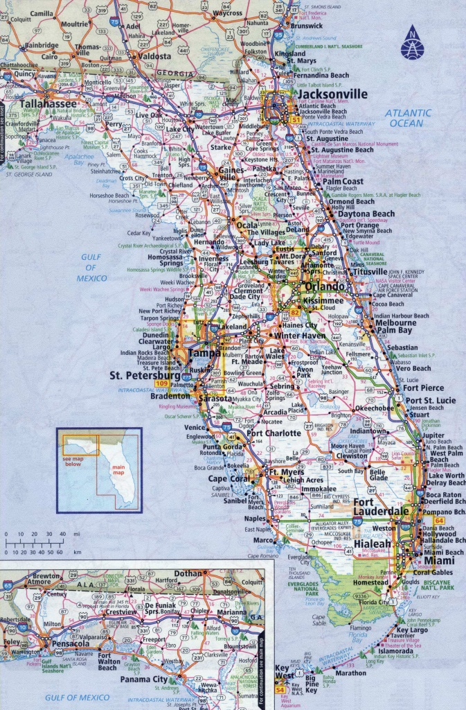 Detailed Map Of South Florida And Travel Information | Download Free - Road Map Of South Florida