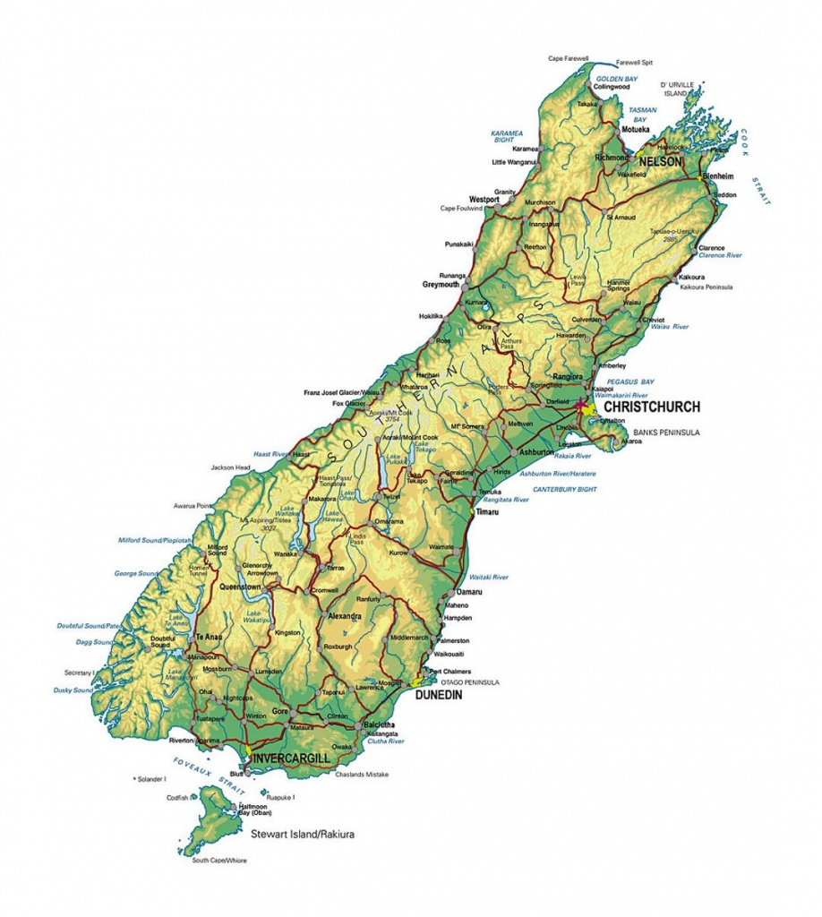 Detailed Map Of South Island, New Zealand With Other Marks | New - New Zealand South Island Map Printable