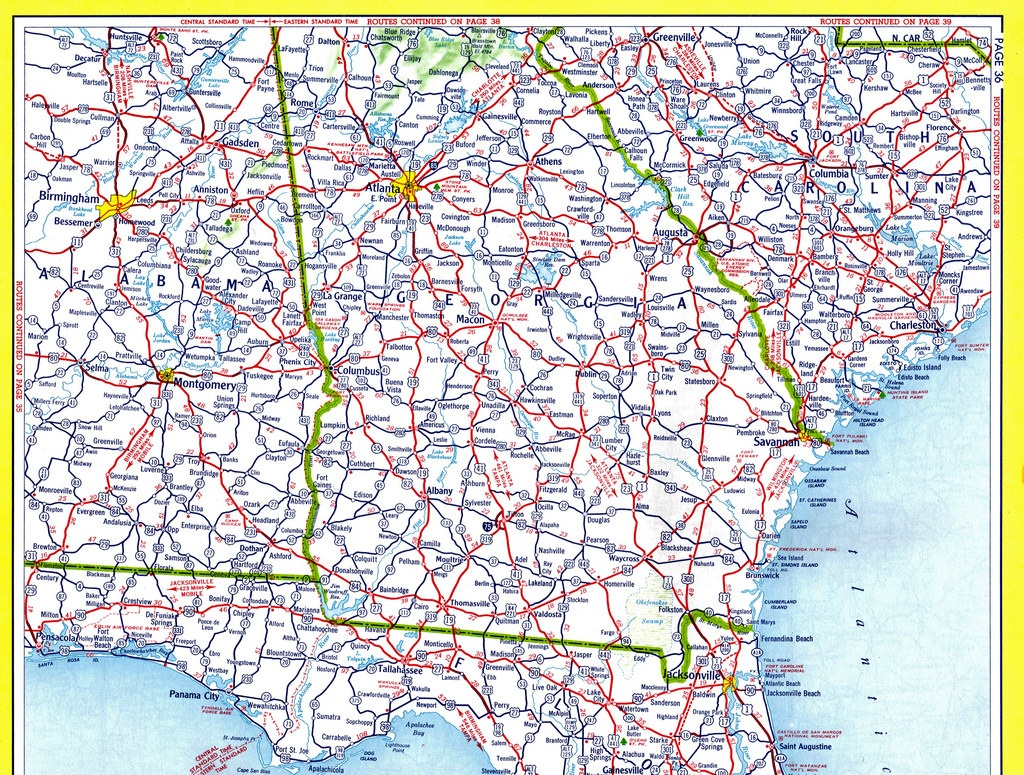Detailed Road Map Of Georgia And Travel Information   Download Free - Georgia Road Map Printable