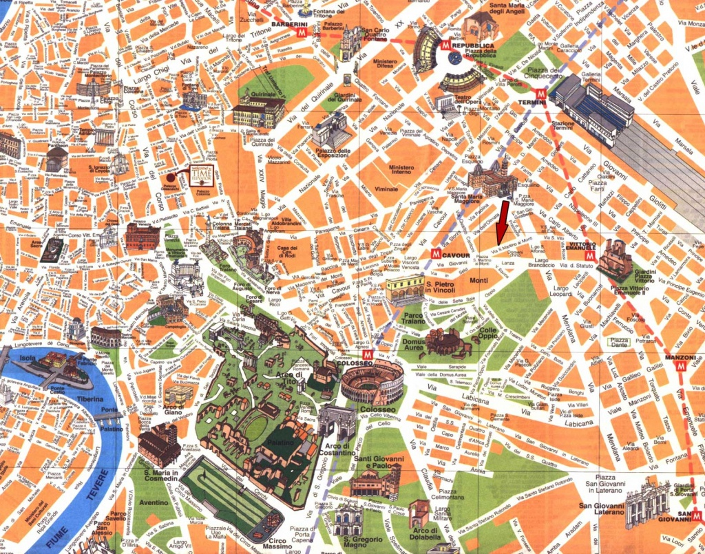 Detailed Travel Map Of Rome City Center. Rome City Center Detailed - Street Map Rome City Centre Printable