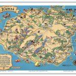 Details About Hawaii Island Map Kauai – White – 1941 Vintage Travel – Printable Map Of Kauai Hawaii
