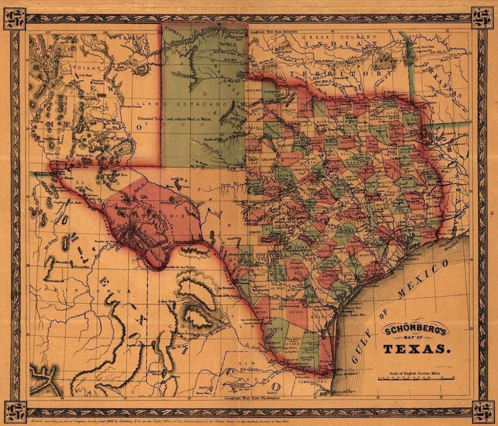 Details About Map Of Texas 1866 Antique State Map Rolled Canvas - Texas Map Canvas