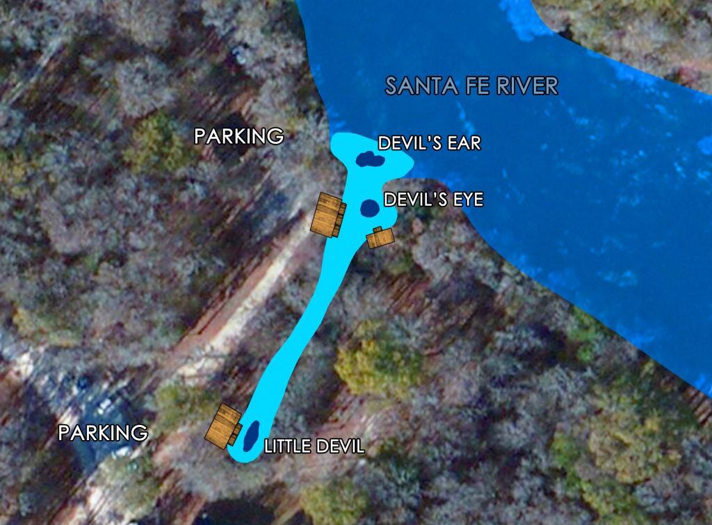 Devil's Spring System Scuba Diving   Ginnie Springs   High Springs, Fl - Devil's Den Florida Map
