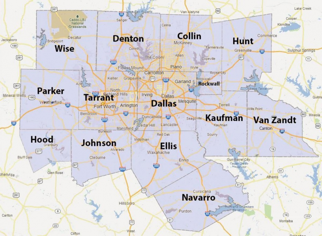 Dfw County Map - Fort Worth County Map (Texas - Usa) - Fort Worth Texas Map