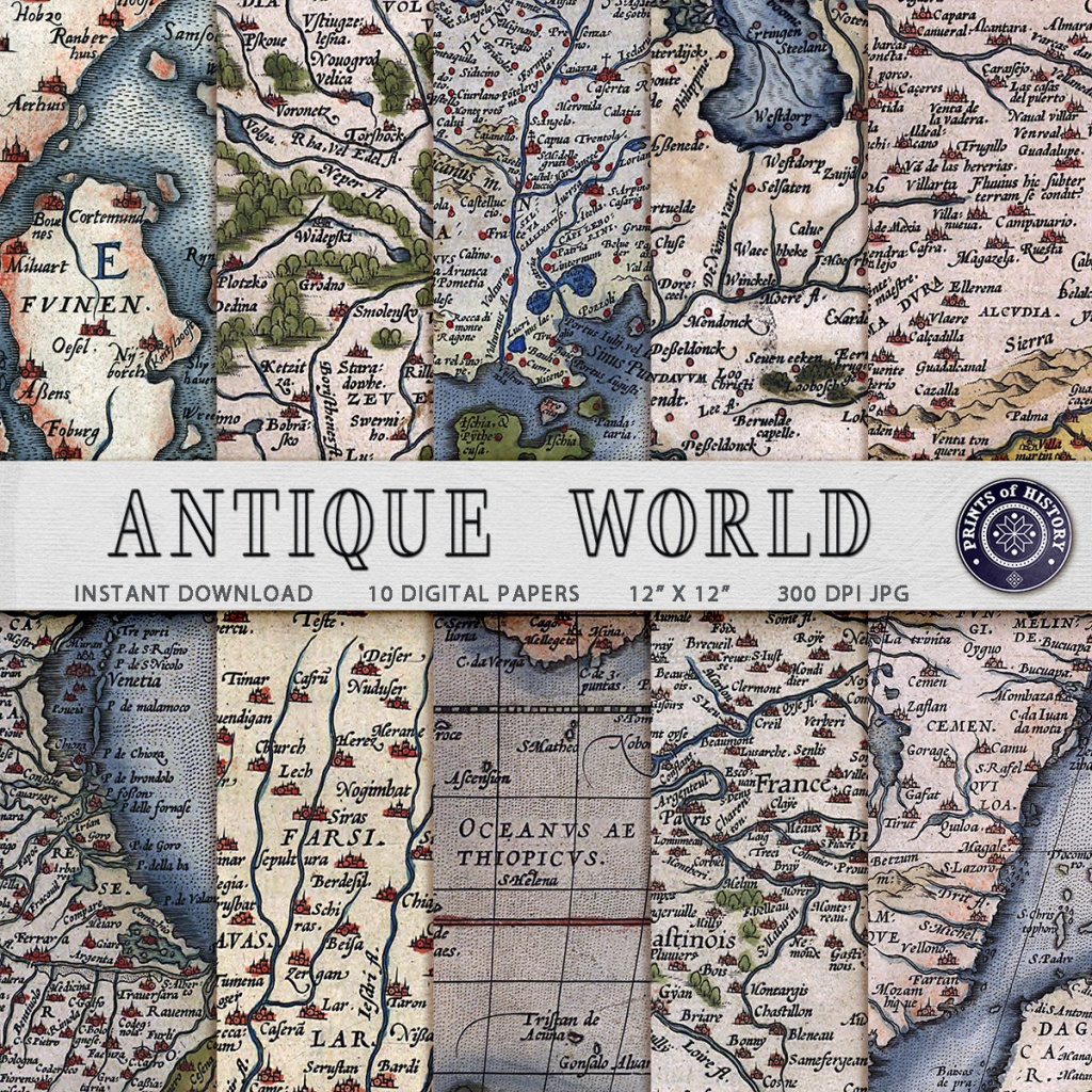 Digital Paper Antique Maps Printable Scrapbooking Map Paper | Etsy - Printable Map Paper