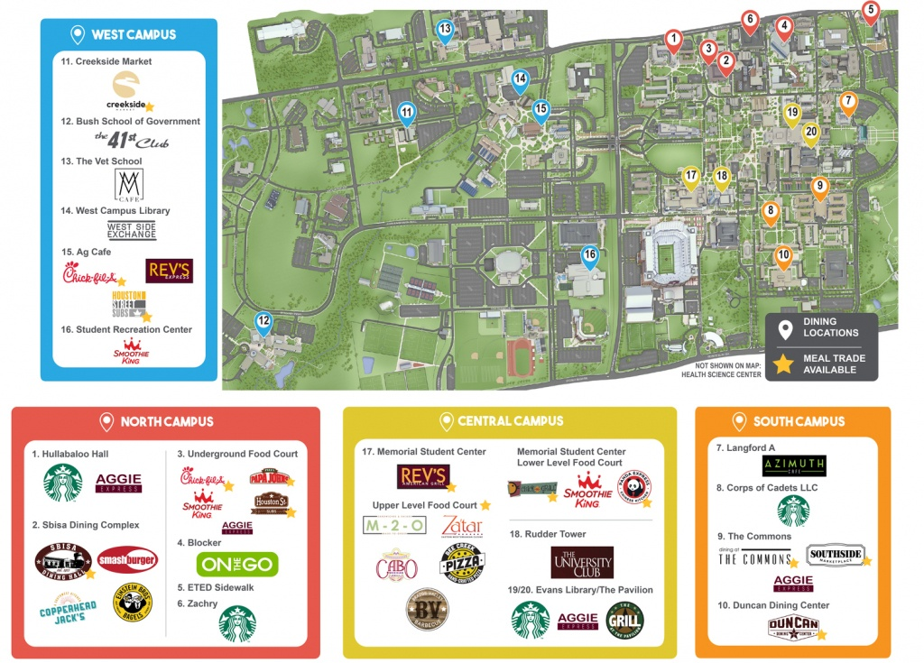 Dine On Campus At Texas A&m University - Texas A&m Map