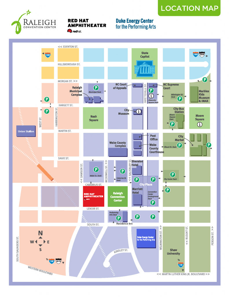 Directions And Parking | Raleigh Convention Center - Printable Map Of Downtown Raleigh Nc