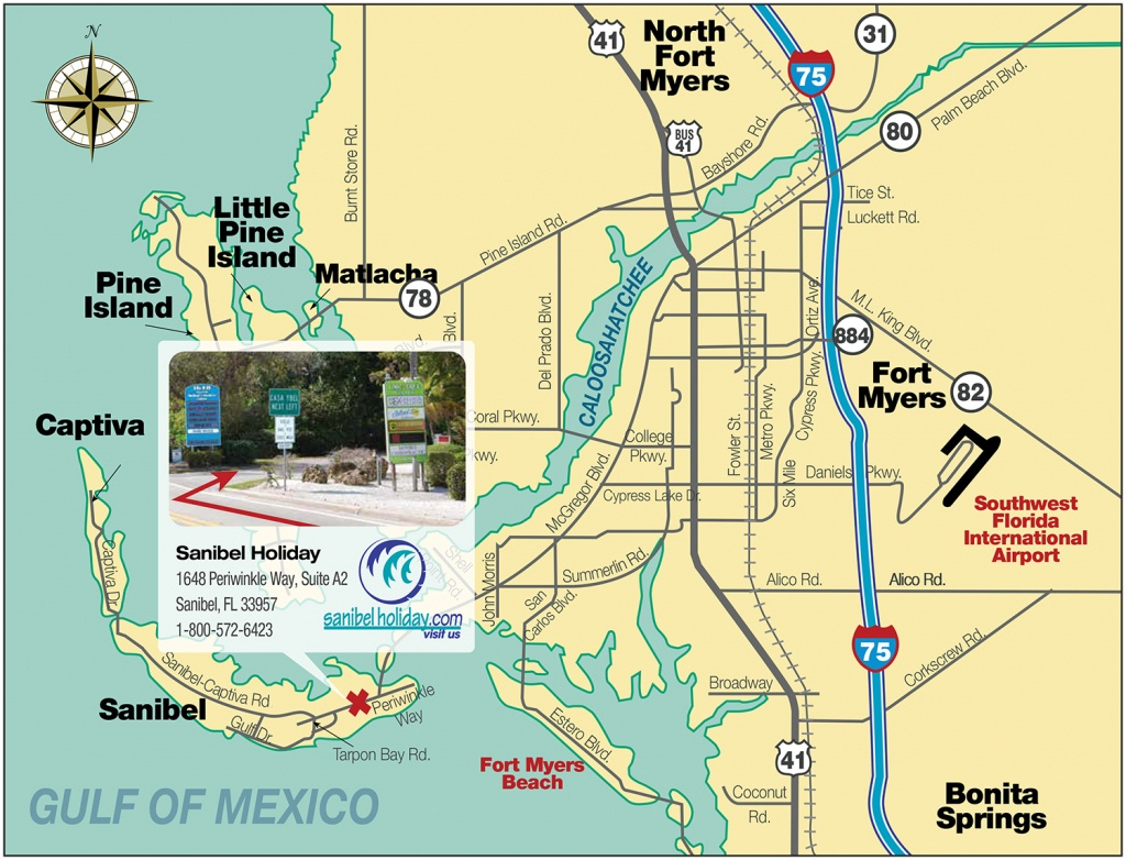 Directions To Sanibel Island   Sanibel Holiday - Road Map Of Sanibel Island Florida
