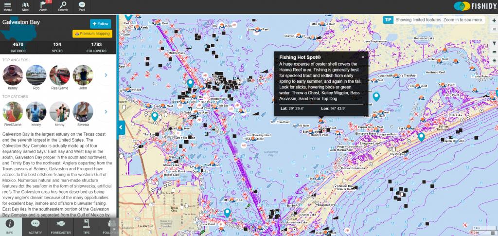 Discover Fishing Hot Spots On Galveston Bay!   Texas Fishing Spots - Texas Offshore Fishing Maps