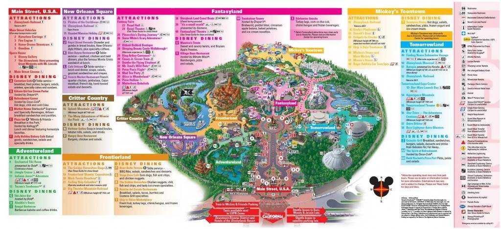 Disneyland Park Map In California, Map Of Disneyland Intended For - Printable Disneyland Map 2015