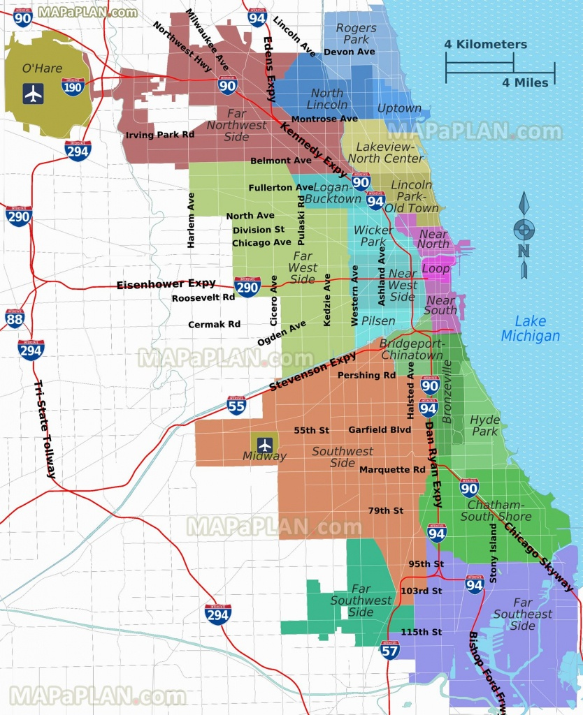 Districts Neighborhoods Regions Suburbs Zones Areas Lake Michigan - Printable Map Of Chicago Suburbs