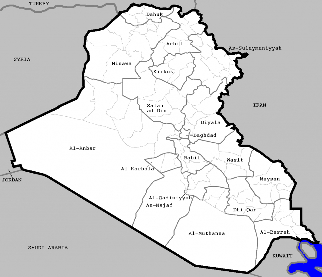 Districts Of Iraq - Wikipedia - Printable Map Of Iraq
