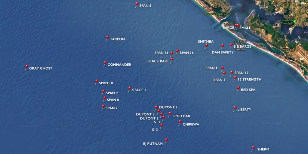 Dive Sites | Panama City Diving - Map Of Panama City Beach Florida