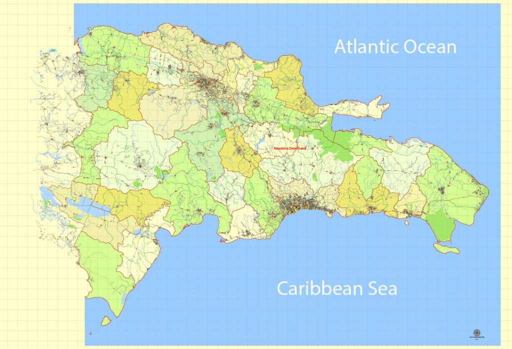 Dominican Republic Map Extra Detailed 01 Printable, Exact Vector Map - Printable Map Of Dominican Republic