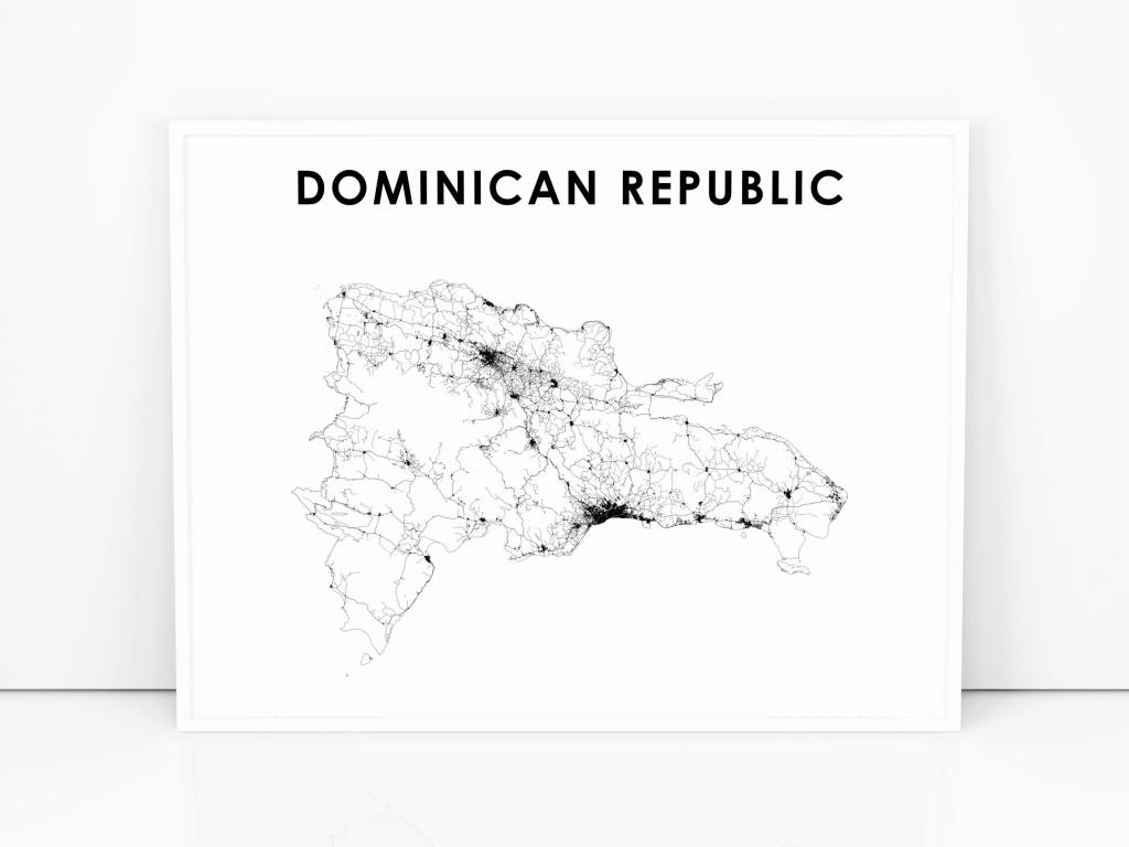 Dominican Republic Map Print Road Map Art Poster Dominicana | Etsy - Printable Map Of Dominican Republic