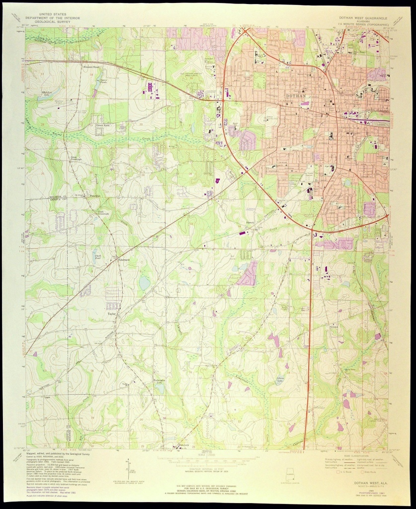 Dothan Map Of Dothan Alabama Art Print Wall Decor Large Topographic - Usgs Printable Maps
