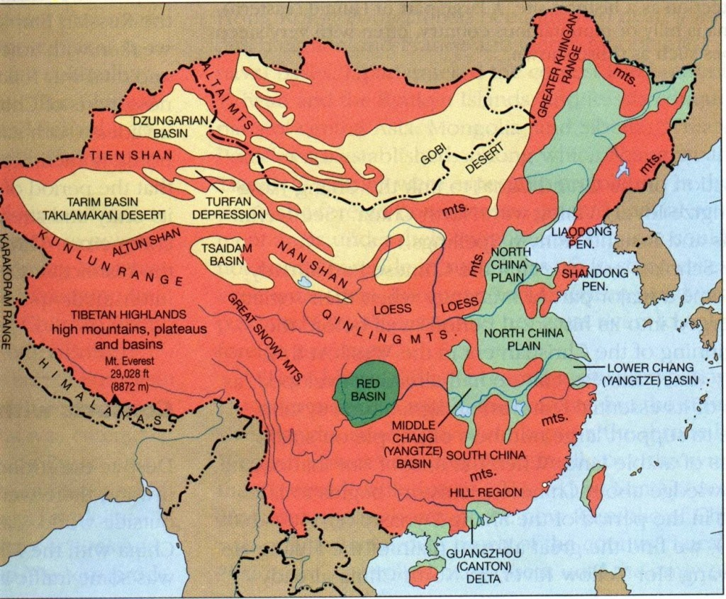 Downloadable Physical Maps Of Chinachina Mike - Printable Map Of China For Kids