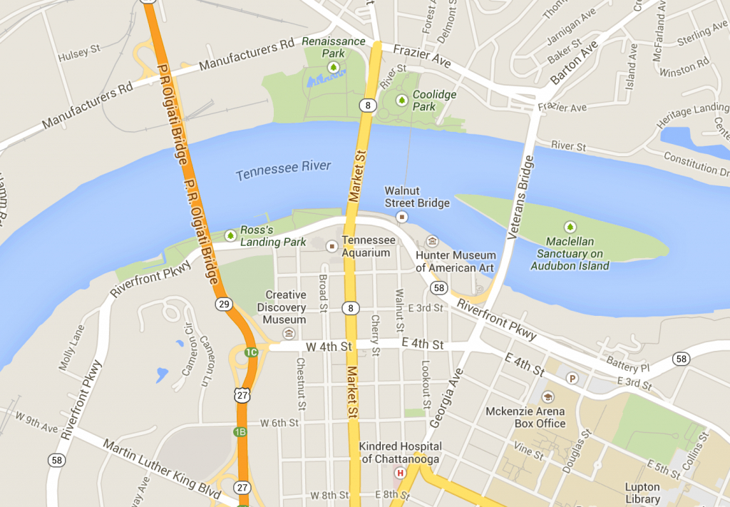 Downtown Chattanooga - Map | Tennessee | Downtown Chattanooga - Printable Map Of Chattanooga