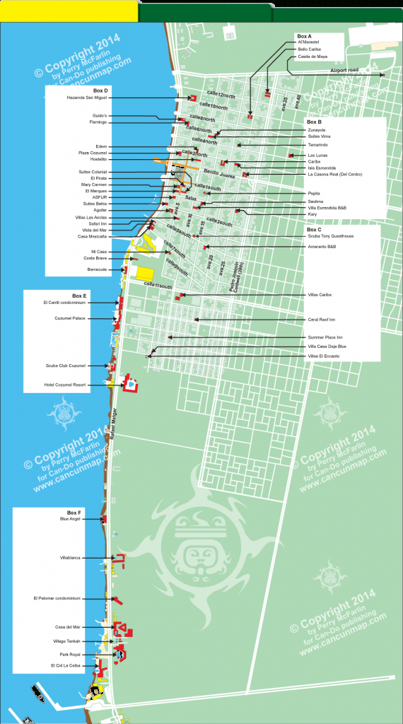 Downtown Cozumel Hotel Map | Mexicoma/carribean Resorts | Cozumel - Printable Map Of Cozumel Mexico