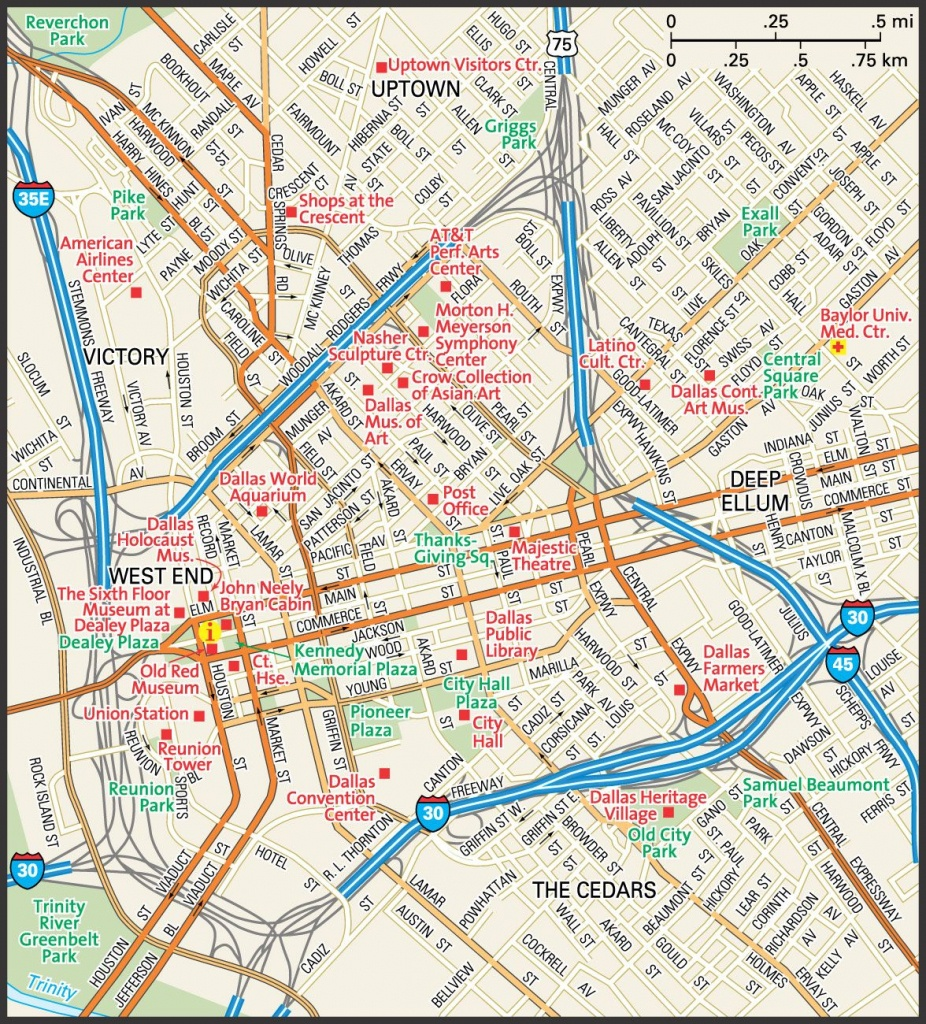 Downtown Dallas Map And Guide | Downtown Dallas Street Map | Travel - Dallas Map Of Texas